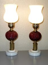 Vintage PAIR Fenton Table Lamps Ruby Red Hobnail Milk Glass Brass Marble Base