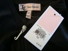 NWT$148 JUICY COUTURE Hoodie Studded Velvet Pitch Black Jacket Sz XS