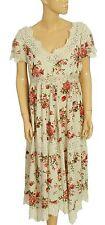 151114 NWT Laura Ashley Floral Printed Lace Beige Dress Medium M 8