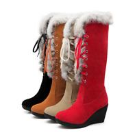 Winter Warm Damenpumps Kniehohe Pelz Keilabsatz Rund Schnürung Schneestiefel Neu