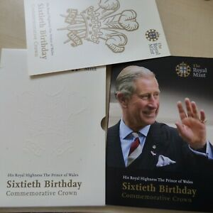 The Royal Mint 2008 Prince of Wales 60th Birthday BU £5 Crown 5 Pound Coin Pack