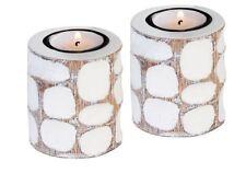 Casablanca Teelichthalter 2er Set weiss-beige Leuchter Kerzenleuchter 12x7 53498