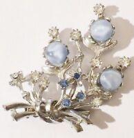 broche rétro bouquet floral relief cristaux cabochon de verre bleu nacré * 4987
