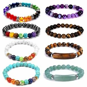 7 Chakra Healing Reiki Beads Bracelet Bangle Natural Stone Jewelry For Women