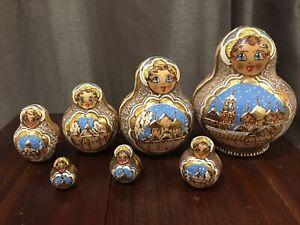 7 pc Nesting Dolls  Russian Doll Matryoshka Hand Painted Russia