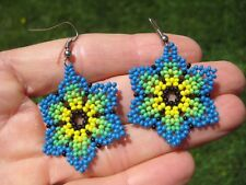 Huichol Bead Indian Flower Earrings earring jewelry Art Hand Made Mexico