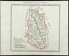 1802 - Carte ancienne département de la Meuse de Chanlaire. France