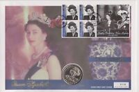 2001 QEII PNC COIN COVER 75TH BIRTHDAY QUEEN GIBRALTAR 1 CROWN COIN 110