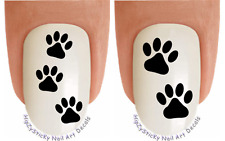 "50pc Nail Decals #1353 DOG ""Dog Paw MINI Set Black"" WaterSlide Nail Art Transfer"