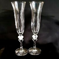 2 (Two) GORHAM AMORE Crystal Champagne Toasting Flute Frosted Heart Stem DISCONT