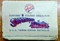 R@R@ BUSTINA VUOTA FIGURINA ORIGINALE PANINI COLLEZIONE 1968 SUPERMAN & BATMAN