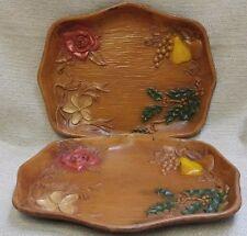 Vintage Pair of Multi Products Inc Wood Look Flower Fruit Trays USA 170445