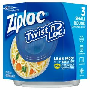 Ziploc Twist 'N Loc Containers, 16 oz. 3 Containers 3 Count (Pack of 1), Blue