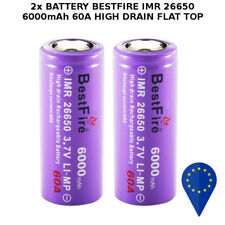 2x BATTERY BESTFIRE IMR 26650 6000mAh 60A DISCARGE HIGH DRAIN BATTERIA FLAT TOP