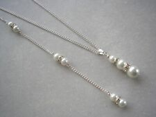 Pearl & Diamante Backdrop Necklace Back Chain Drop Bridal Bridesmaid Wedding 3S6