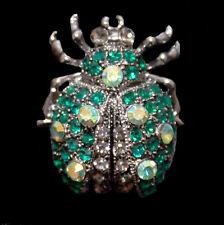 Wundervolle Brosche Käfer grüne und weiße Kristalle, silberfarben