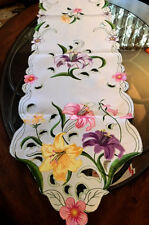 """Colorful Lily Spring Decor Table Runner Embroidered Cutwork Design 68"""" L"""