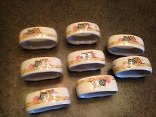 8 Tienshan Stoneware Calico Cat Kitten Napkin Ring Holders Purrfect Friends