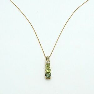 New 10K Gold Shades of Green Peridot August Birthstone Journey Pendant Necklace