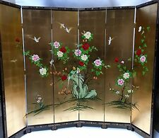 """oriental furniture 84"""" high wooden screen gold leaves lacquer room dividers"""