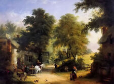 Dream-art Oil painting William Shayer - outside the white swan inn landscape art