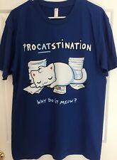 New Woot Tee Shirt American Apparel mens/unisex L Procrastination Cat Fablefire