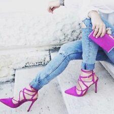 ZARA Trafaluc Magenta Purple Fuchsia Lace Up high Heels shoes UK 3 EU 36