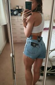 BNWT Blue Levi's Shorts High Waisted Size W26 Tape Cut Offs
