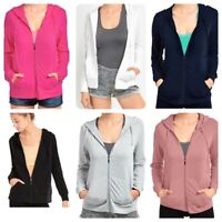 Sofra Teejoy Women's Casual Thin Cotton Zip Up Hoodie Jacket (S-1XL)