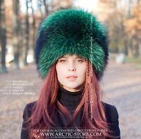 Emerald green Luxury Russian original women's raccoon fur hat for a Lady
