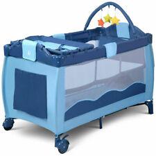 Outdoor Infant Bassinet Bed Foldable Baby Crib Playpen Playard Pack Blue Color