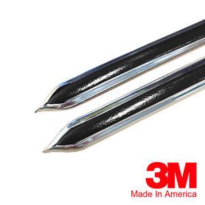 "Vintage Style 5/8"" Black & Chrome Side Body Trim Molding - Formed Pointed Ends"