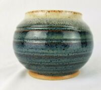 Studio Art Pottery Signed Bowl Planter Pot Handmade Dish Vase Blue 4.5in