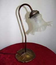 """Vintage Goose Neck Table Lamp w/Glass Ruffle Shade Lily Pad Metal Base 14"""""""