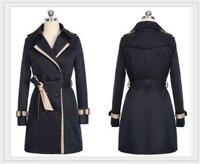 Women Windbreaker Double Breasted Long Trench Coat Jacket Overcoat Outwear Coats
