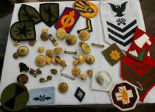 LOT Vintage Military Patches Army Navy Buttons Pins Bars Lightning Stars SETS NR