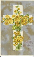 Early Easter Postcard Cross And Flowers 1909