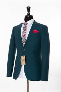Men's Skinny Fit Mod Suit Blazer Antique Rogue Green Teal Aquamarine Size 40