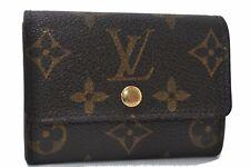 Authentic Louis Vuitton Monogram Porte Monnaie Plat Coin Case M61930 LV D8174