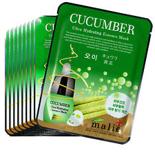 11 Pcs Cucumber Facial Skin Care Mask Pack Essence Collagen Moisture Malie