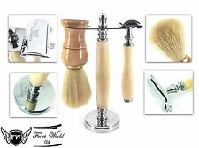 3 Pcs De Safety Razor Set.Men's Shaving Kit With Badger Hair Brush & Dual Stand