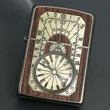 ZIPPO Lighter ANTIQUE SUNDIAL Wood Inlay Both Sides Etching Gold Brass JP Model