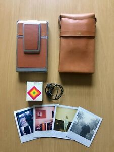 POLAROID SX-70 TAN Land Camera,TESTED FULLY WORKING, ORIGINAL BAG AND BUTTON
