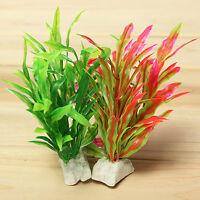 Artificial Water Green Red Plant Grass for Fish Tank Aquarium Plastic Decor 12