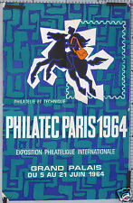 AFFICHE ANCIENNE EXPOSITION PHILATELIQUE PARIS 1964 GRAND PALAIS