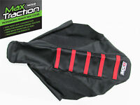 HONDA CRF150 CRF150R RIBBED GRIPPER SEAT COVER BLACK WITH RED STRIPES MOTOCROSS