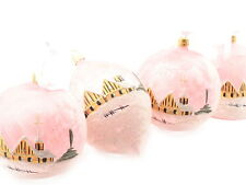 Set (4) Large luxury hand decorated Czech pink glass Christmas tree ornaments