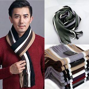 Mens Women Winter Warm Scarf Striped Tassel Long Shawl Wrap Neck Warmer Scarves
