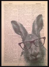 Hare Print Vintage Dictionary Page Wall Art Picture Glasses Funky Animal Rabbit