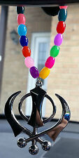 Silver Plated Punjabi Sikh Large Khanda Pendant Car Hanging in Coloured Beads